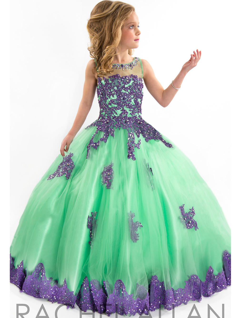 Purple Lace New Fashion Floor Length Ball Gown Flower Girl Dresses ...