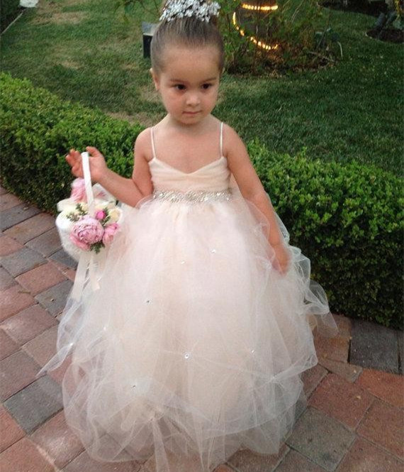 Formal Floor Length Flower Girl Dresses Children Birthday Dress Tulle Kids Wedding Party Dresses WLJ59