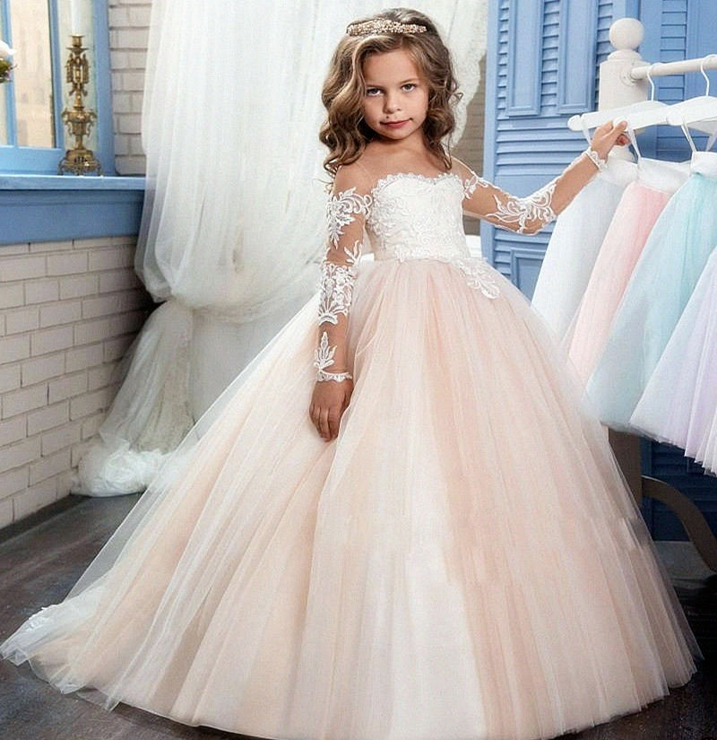 Sheer Long Sleeve Cute Applique Pageant Flower Girl Dresses Children  Birthday Dress Lace Ball Gown Tulle 839f12860578