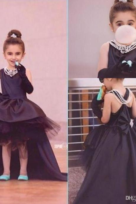 Hi-Lo Pageant Flower Girl Dresses Kids Birthday Dress Lace Ball Gown Tulle Princess Gowns Wedding Party Dresses 39