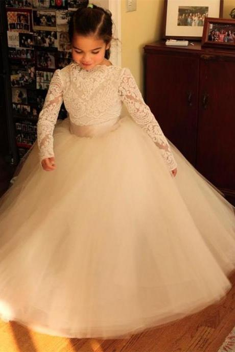 Long Sleeve Pageant Flower Girl Dresses Kids Birthday Dress Lace Princess Gowns Tulle Wedding Party Dresses 41