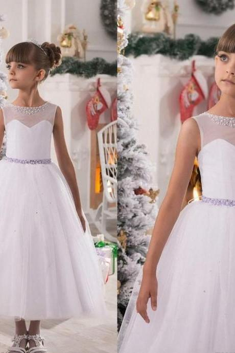 Beading Pageant Flower Girl Dresses Kids Birthday Dress Princess Gowns Tulle Wedding Party Dresses 45