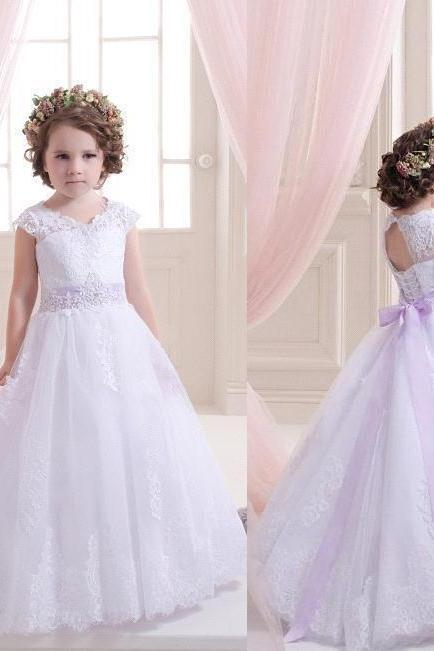 Purple Sash Princess Gowns Pageant Flower Girl Dresses Kids Birthday Dress Lace Ball Gown Tulle Wedding Party Dresses 55