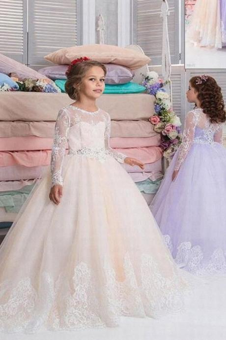 Princess Gowns Flower Girl Princess Vintage Special Occasion Party Wedding Lace Bow Dress 74