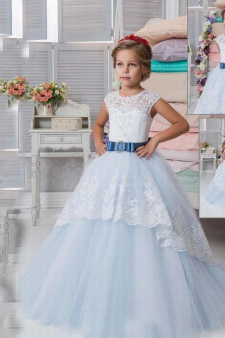 New Lace Tulle Flower Girl Dress Wedding Bridesmaid Pageant Birthday Princess 96