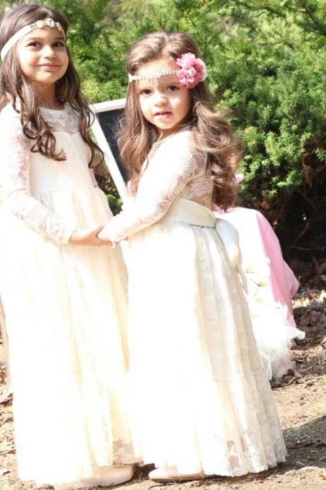 Lace Flower Girl Dresses Applique Long Sleeve Crew Zipper Back Floor Length Holy First Communion Dresses A Line Girls' Pageant Dress Junior Bridesmaid Gown 133
