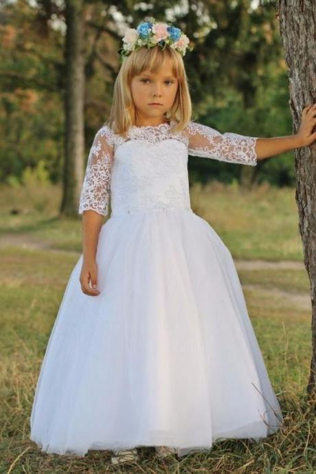A-line Princess Gowns Scoop Sleeveless Hand-Made Flower Floor-length Tulle Dresses 134