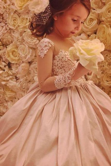 2017 New Fashion Flower Girl Dresses .Flower Girl Dresses.Long Sleeves Flower Gril Dresses,Satin Flower Girl Dresses 154