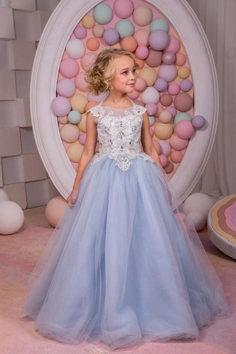 Princess Gowns Sleeveless Appliques Top Tulle Pretty Flower Girl Dresses With Backless 155