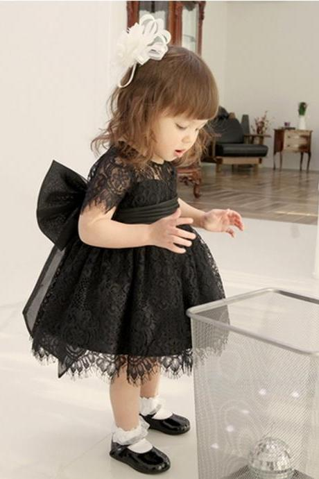 Black Lace Baby Girl Birthday Wedding Party Formal Flower Girls Dress baby Pageant dresses 171
