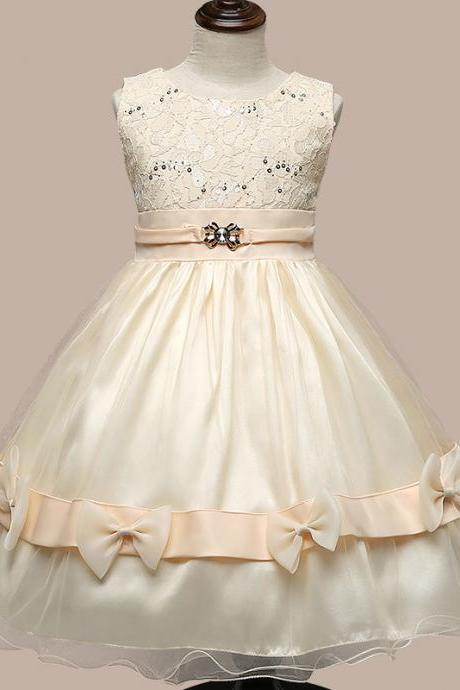 Flower Girl Dresses Flower children's clothes,Children's clothes,Europe and the United States princess dress, girls bow bright trailers child dress, children dress , wedding flow 187