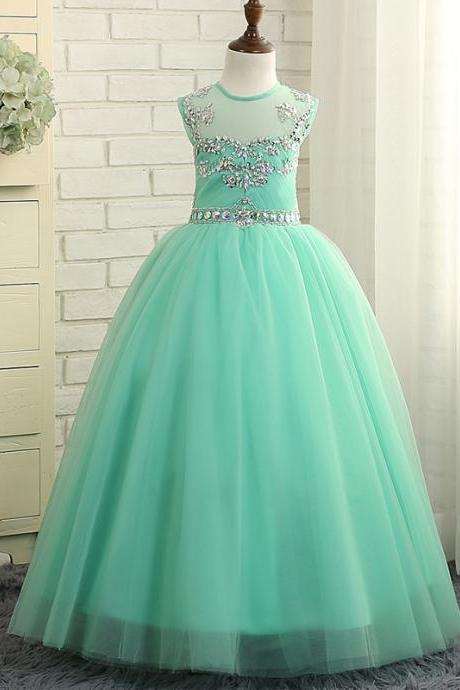 Beautiful Mint Green Flower Girl Dresses Beaded Tulle Baby Girl Prom Perform Perform Birthday Ball Gowns 195