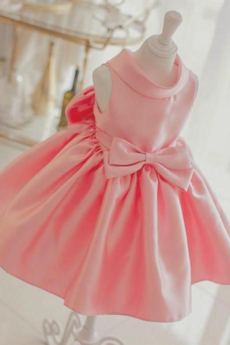 Flower Girl Dress, Light Pink Baby Girl Party Dress, Pink Bridesmaid Dress, Big Bow Dress, Pink Flower Girl Dress, Baby Girl Birthday Outfit, High quality flower girl dress,