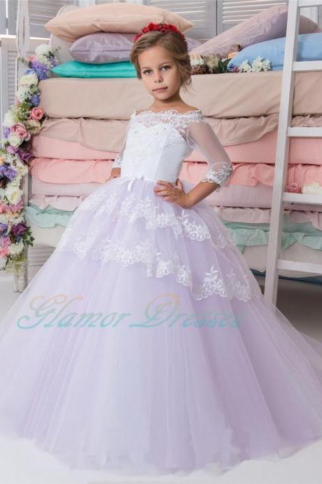 Half Sleeve Princess Gowns Baby Girl Birthday Wedding Party Formal Flower Girls Dress baby Pageant dresses 199