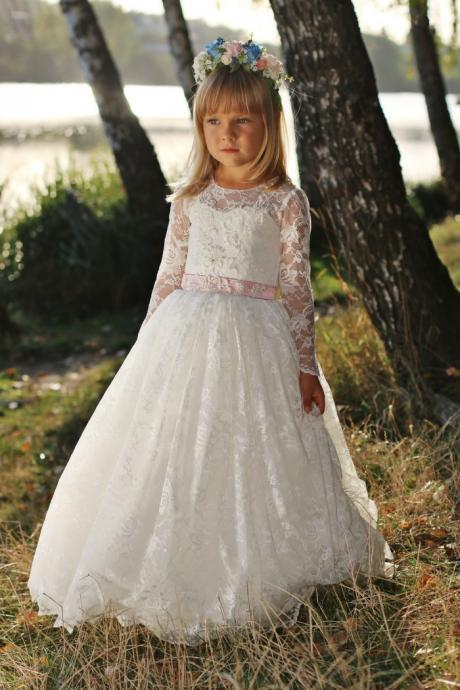 Long Sleeve Lace Baby Girl Birthday Wedding Party Formal Flower Girls Dress baby Pageant dresses 256