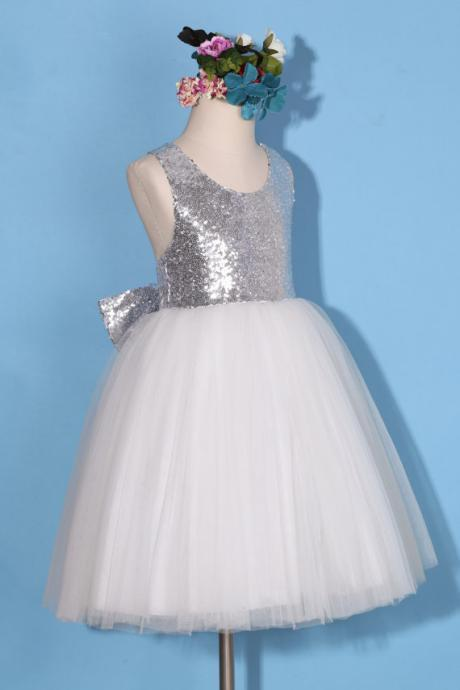 Silver Sequin Baby Girl Birthday Wedding Party Formal Flower Girls Dress baby Pageant dresses 271