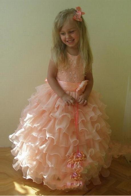 Pink Ruffle Girl Birthday Wedding Party Formal Flower Girls Dress baby Pageant dresses 297