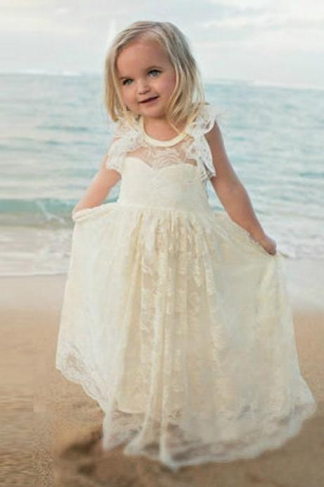 Lace Backless Girl Birthday Wedding Party Formal Flower Girls Dress baby Pageant dresses 329