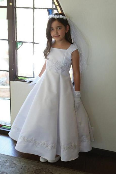 Satin Lace Applique Girl Birthday Wedding Party Formal Flower Girls Dress baby Pageant dresses 354