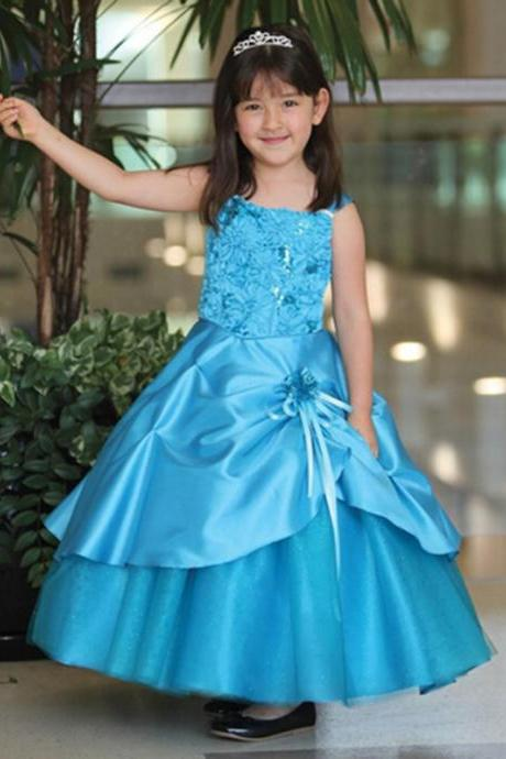 Blue Ankle Length Girl Birthday Wedding Party Formal Flower Girls Dress baby Pageant dresses 361