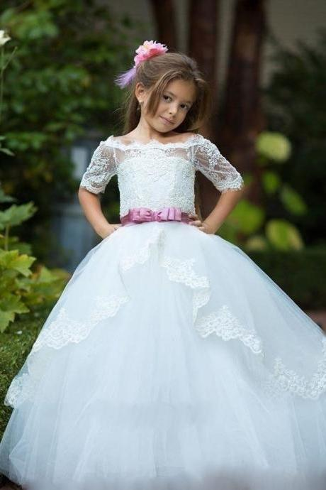 Rose Sash Half Sleeve Girl Birthday Wedding Party Formal Flower Girls Dress baby Pageant dresses 372