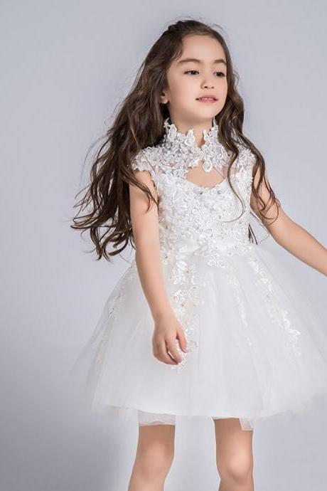 High Neck Short Lace Dress Girl Birthday Wedding Party Formal Flower Girls Dress baby Pageant dresses 378