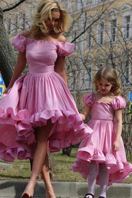 Pink Cap Sleeve Ruffle Cute Girl Birthday Wedding Party Formal Flower Girls Dress baby Pageant dresses 385