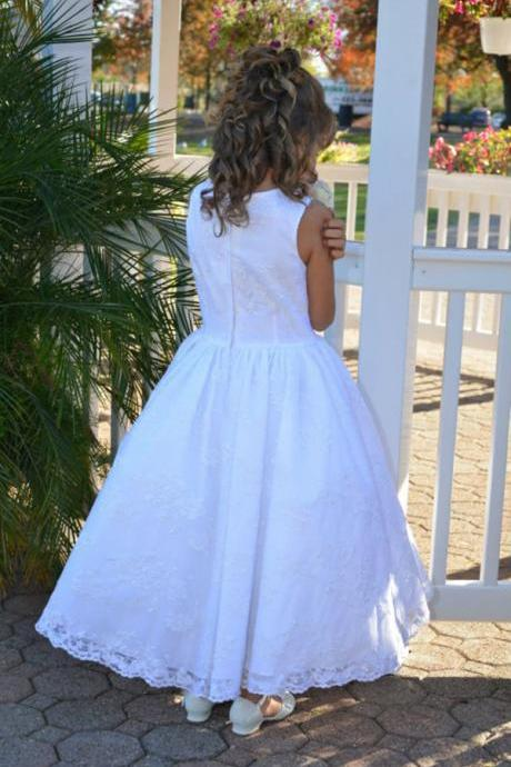 Lace Ankle Length Cute Girl Birthday Wedding Party Formal Flower Girls Dress baby Pageant dresses 398