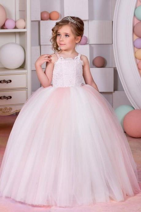 Lace High Quality Girl Birthday Wedding Party Formal Flower Girls Dress baby Pageant dresses 442