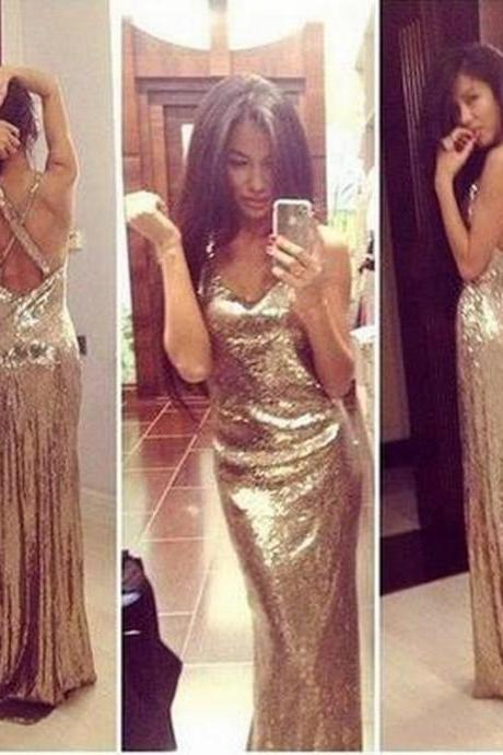 Prom Dress Long Prom Dress Sequin Prom Dress Gold Prom Dress Sexy Prom Dress Backless Prom Dress