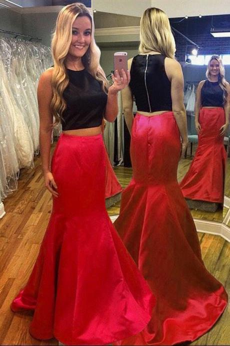 New Prom Dress Silk Like Satin Red Two Pieces Long Prom Dress Black Prom Dress Mermaid Prom Dress Zipper Back Prom Dress Evening Dress Party Dress