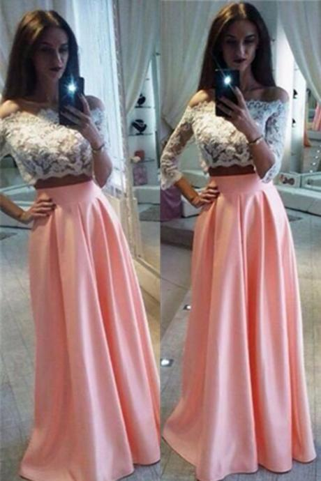 New Arriveed Prom Dress White Lace Bodice Prom Dress Half Sleeves Prom Dress Off Shoulder Prom Dress Two Pieces Prom Dress Satin Prom Dress Pink Prom Dress Evening Dress Party Dress