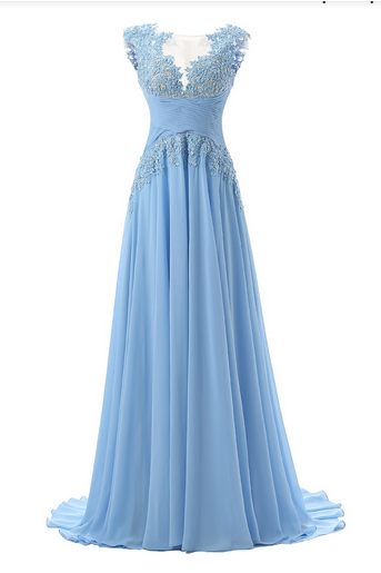 Sleeveless Bateau Neckline Chiffon Floor-length Dress featuring Sheer Lace Appliqué Bodice