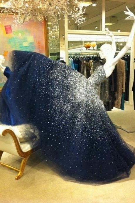 Prom Dress Prom Dresses Sparkling Prom Dress Bling Prom Dress Long Prom Dress Beaded Prom Dress Navy Prom Dresses Fashion Girl Party Dress Ball Gown Ball Gown Prom Dress