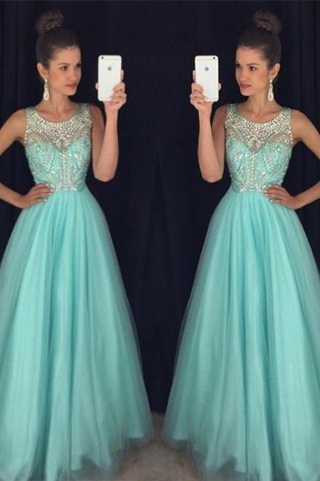 Backless Light Blue A Line Long Crystal Bridesmaid Evening Dress Prom Dress Bridal Wedding Party Dress