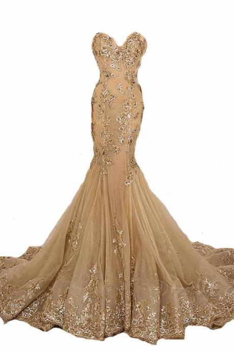 Gold Prom Dress Lace Prom Dress Sexy Prom Dress High Collar Prom Dress Mermaid Prom Dress Beaded Prom Dress Champagne Prom Dress Fashion Prom Dress Luxury Prom Dress Long Prom Dresses Party Dress