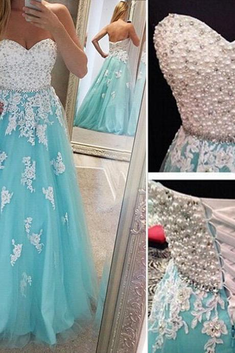 Blue Prom Gown Lace Prom Gown Sweetheart Prom Gown Appliques Prom Gown Beaded Prom Gown Pearls Prom Gown Long Prom Gown Formal Prom Gown Party Dress