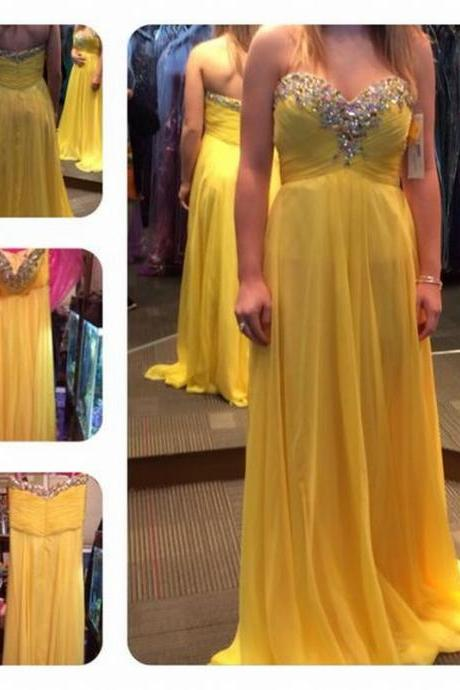 Charming Prom Dress Chiffon Prom Dress Beading Prom Dress Sweetheart Evening Dress