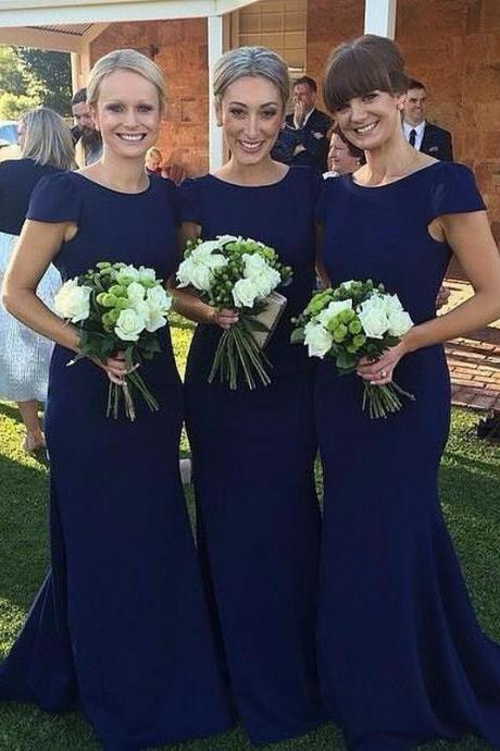Mermaid Long Bridesmaid Dress Elegant Wedding Guest Dress for wedding wedding party dress Royal blue bridesmaid dress simple short sleeve cheap elegant simple long bridesmaid dress