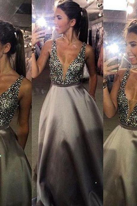 Charming V-Neck Beads Bodice Open Back A Line Long Evening Dress Party Elegant Vestido De Festa Fast Shipping Prom Gowns