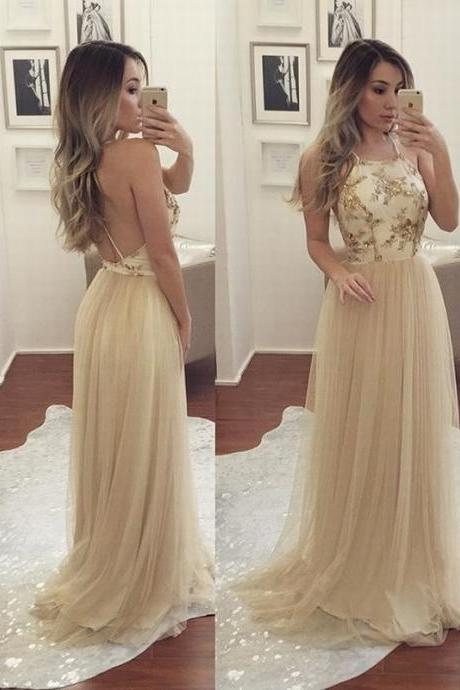 Champagne Halter Prom Dress Backless Tulle Formal Gown Long Party Dress