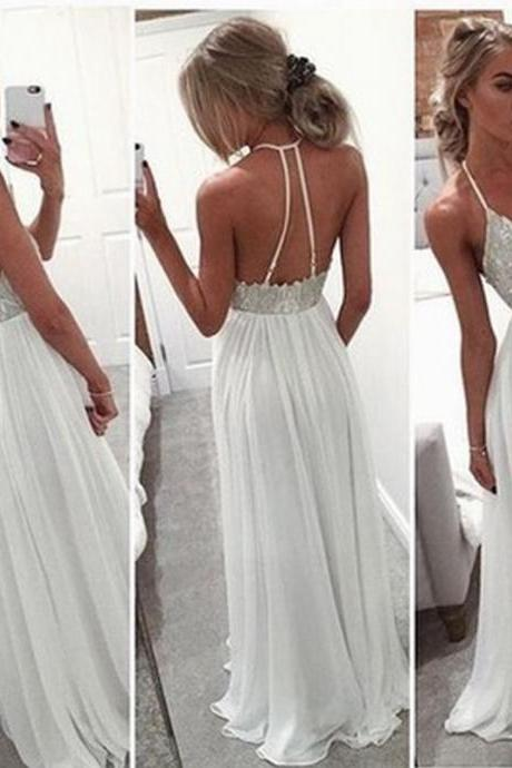 Sexy Prom Dresses Evening Dresses New Fashion Prom Gowns Elegant Prom Dress Princess Prom Dresses Chiffon Evening Gowns White Formal Dress White Evening Gown