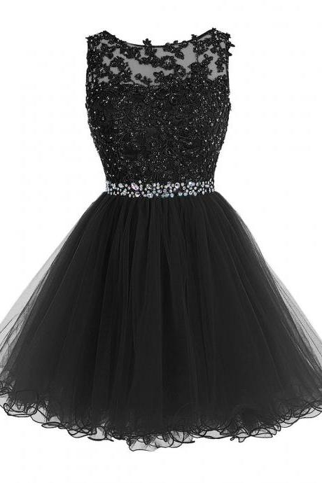 Sexy Black Short Prom Dress Lace Prom Dress Prom Party Gown Short Beaded Prom Dress Tulle Applique Evening Dress Homecoming Dresses
