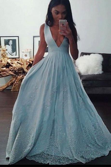 Light Blue Deep V Neck Formal Gown Long Party Dress Prom Dress With Appliques