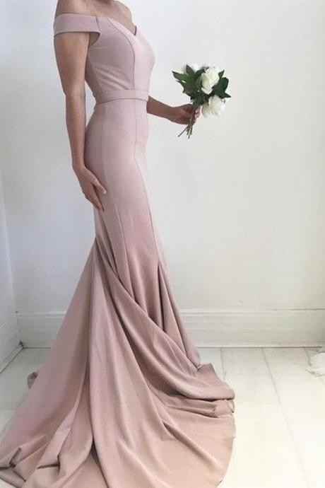 Blush Pale Pink Prom Dress Sexy Off the Shoulder Prom Dress Mermaid Prom Gowns Charming Satin Prom Dress Prom Dress with Sweep Train