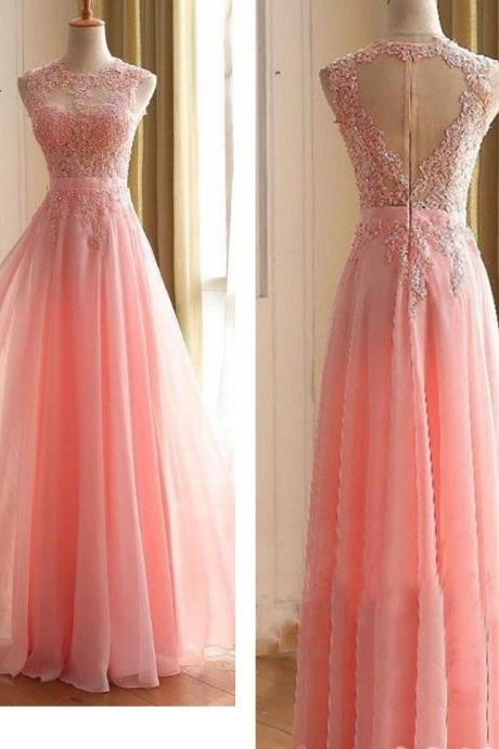Prom Dresses Lace Appliques Prom Dresses Floor Length Prom Dress Formal Dresses A-line Sleeveless Zipper Back Chiffon Lace Prom Dresses