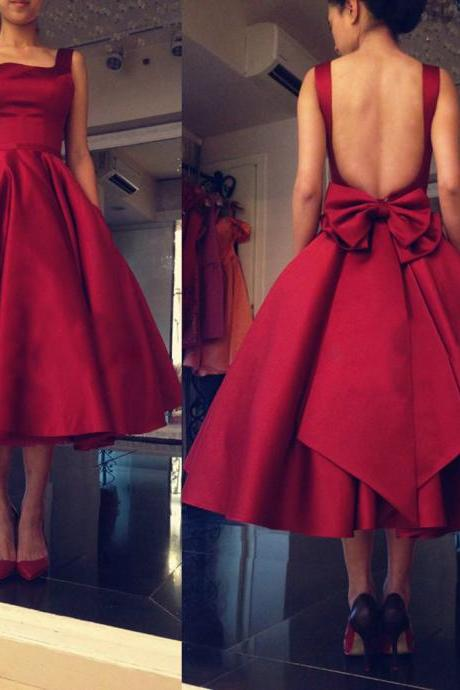 Mid-calf Red Satin Prom Dresses Open Back Women Party Dresses