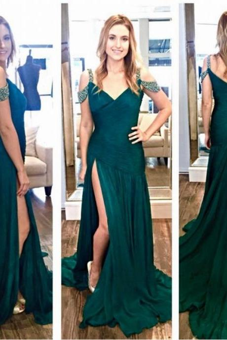 Mermaid Prom Dresses Long Chiffon Evening Gowns Crystals Pleat Women Party Dresses