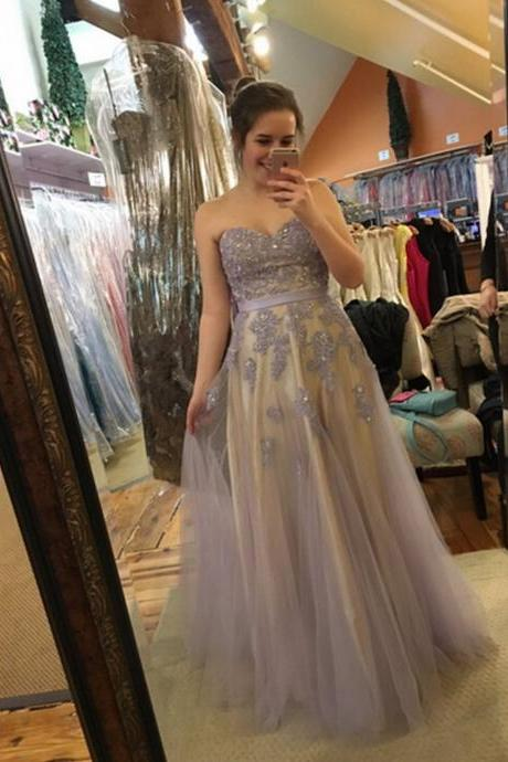 Tulle Prom Dresses Lace Appliques Women Dresses Long Tulle Dresses