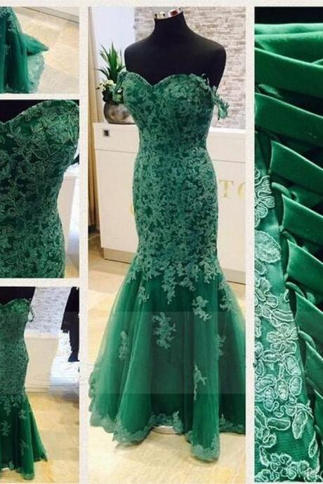 Mermaid Tulle Prom Dresses lace Appliques Prom Dresses Sweetheatt Neck Women prom Dresses Mermaid Long Women Dresses Lace up dresses